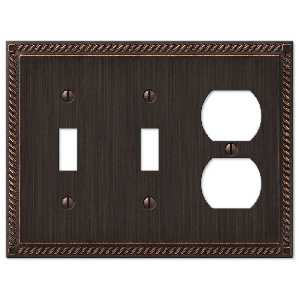 Georgian Aged Bronze Cast - 2 Toggle / 1 Duplex Outlet Wallplate - Wallplate Warehouse