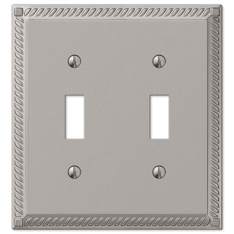 Georgian Satin Nickel Cast - 2 Toggle Wallplate - Wallplate Warehouse