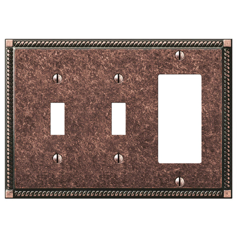 Georgian Tumbled Aged Bronze Cast - 2 Toggle / 1 Rocker Wallplate