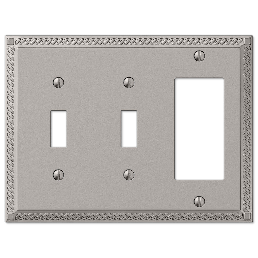 Georgian Satin Nickel Cast - 2 Toggle / 1 Rocker Wallplate - Wallplate Warehouse