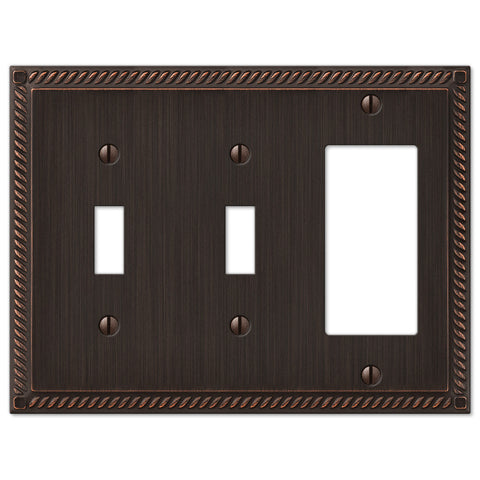 Georgian Aged Bronze Cast - 2 Toggle / 1 Rocker Wallplate - Wallplate Warehouse