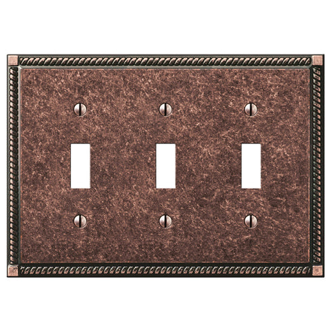 Georgian Tumbled Aged Bronze Cast - 3 Toggle Wallplate