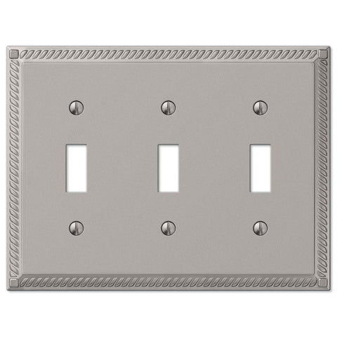 Georgian Satin Nickel Cast - 3 Toggle Wallplate - Wallplate Warehouse