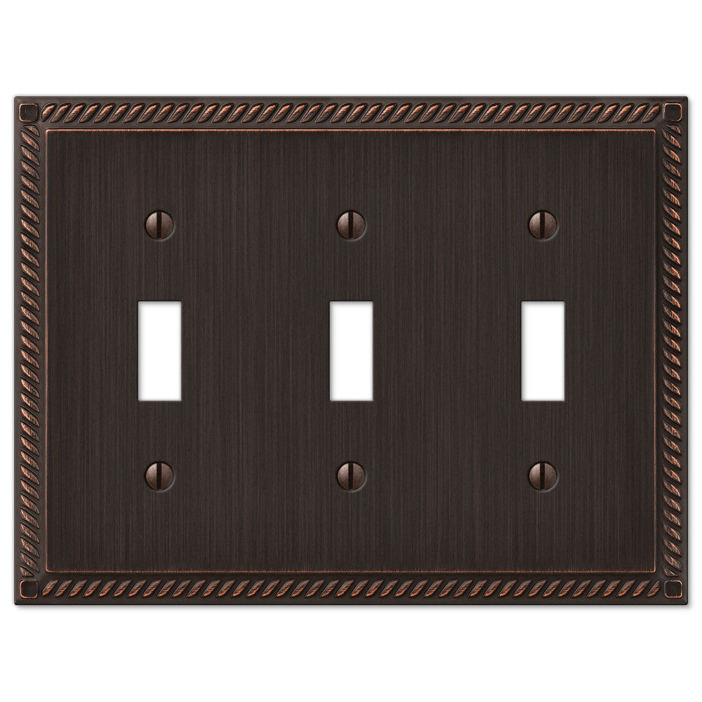 Georgian Aged Bronze Cast - 3 Toggle Wallplate - Wallplate Warehouse