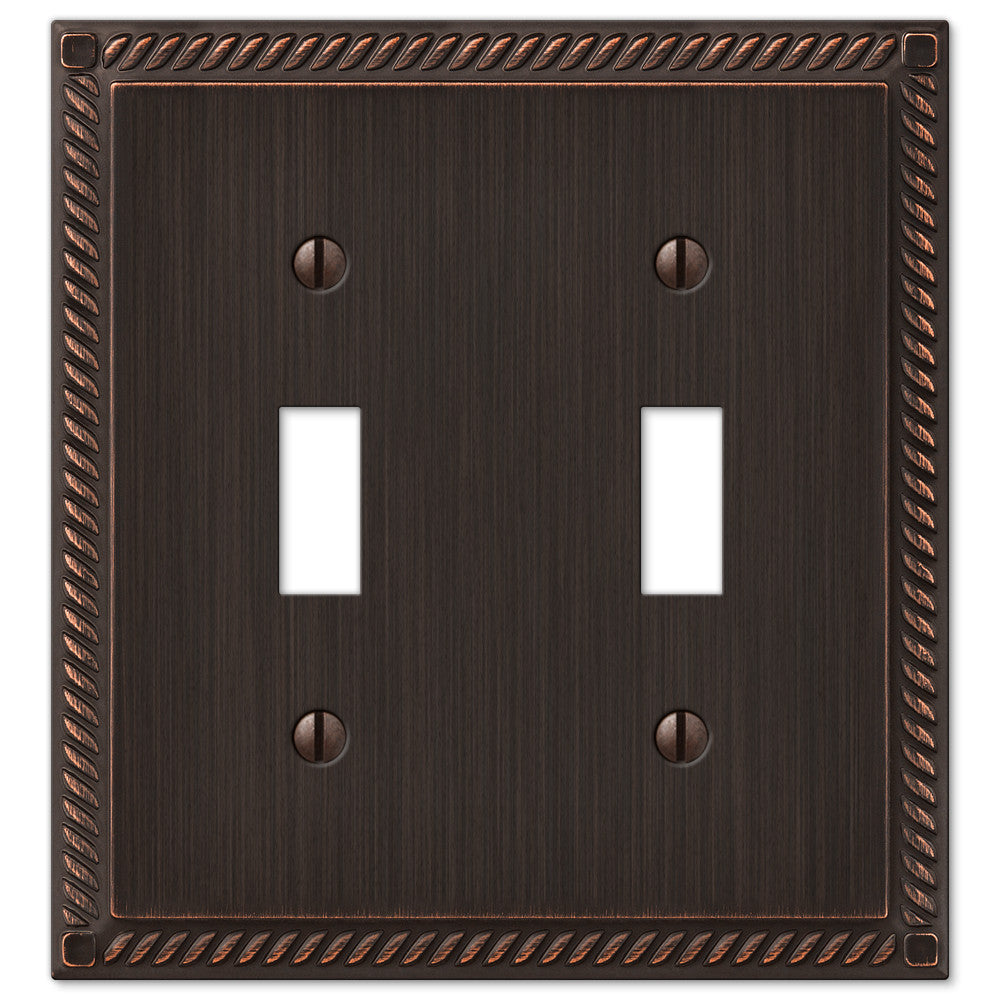 Georgian Aged Bronze Cast - 2 Toggle Wallplate - Wallplate Warehouse