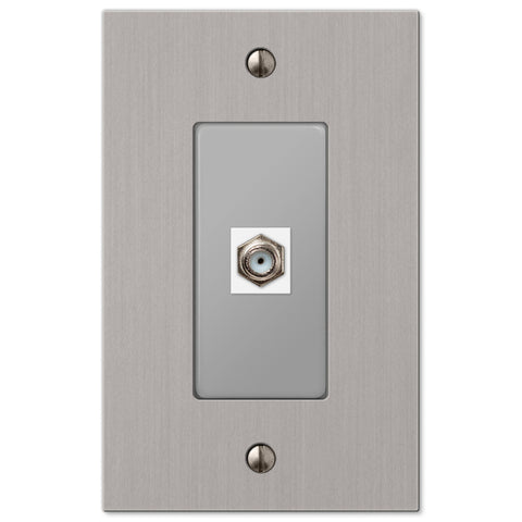Elan Brushed Nickel Cast - 1 Cable Jack Wallplate - Wallplate Warehouse