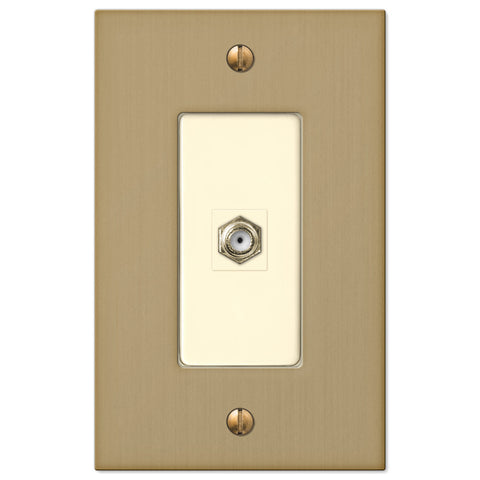Elan Brushed Bronze Cast - 1 Cable Jack Wallplate - Wallplate Warehouse