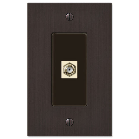 Elan Aged Bronze Cast - 1 Cable Jack Wallplate - Wallplate Warehouse