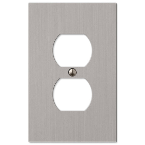Elan Brushed Nickel Cast - 1 Duplex Outlet Wallplate - Wallplate Warehouse