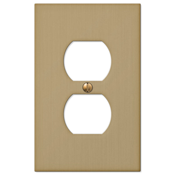 Elan Brushed Bronze Cast - 1 Duplex Outlet Wallplate - Wallplate Warehouse