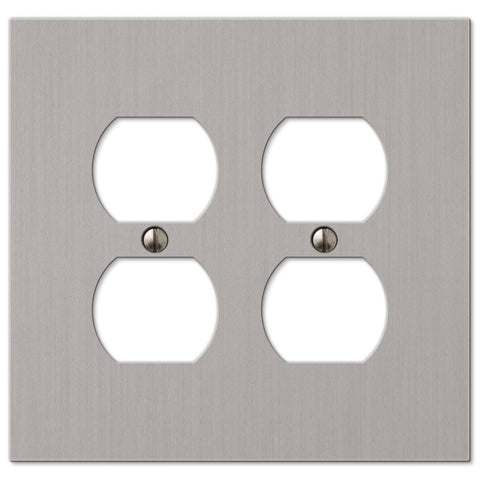 Elan Brushed Nickel Cast - 2 Duplex Outlet Wallplate - Wallplate Warehouse