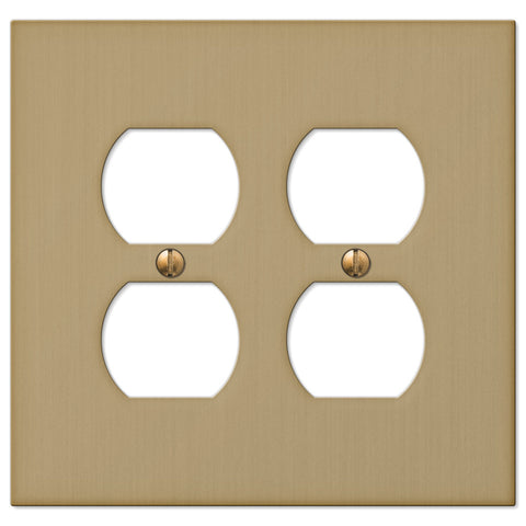 Elan Brushed Bronze Cast - 2 Duplex Outlet Wallplate - Wallplate Warehouse