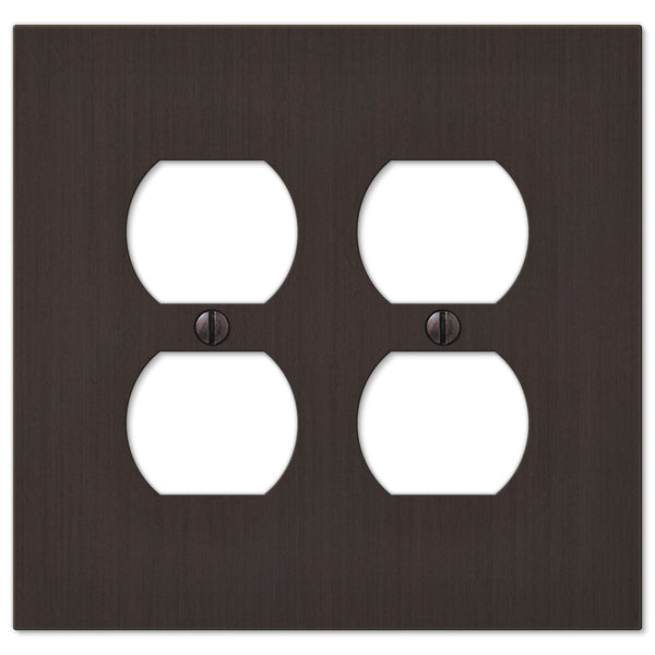 Elan Aged Bronze Cast - 2 Duplex Outlet Wallplate - Wallplate Warehouse