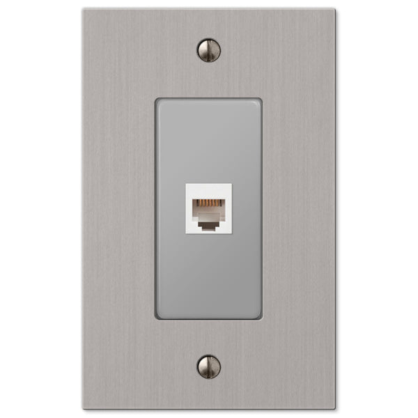 Elan Brushed Nickel Cast - 1 Phone Jack Wallplate - Wallplate Warehouse