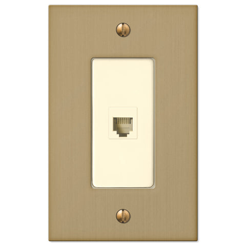 Elan Brushed Bronze Cast - 1 Phone Jack Wallplate - Wallplate Warehouse