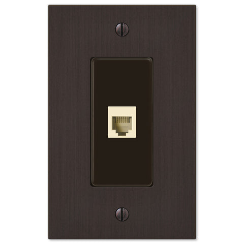 Elan Aged Bronze Cast - 1 Phone Jack Wallplate - Wallplate Warehouse