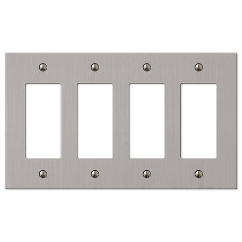 Elan Brushed Nickel Cast - 4 Rocker Wallplate - Wallplate Warehouse