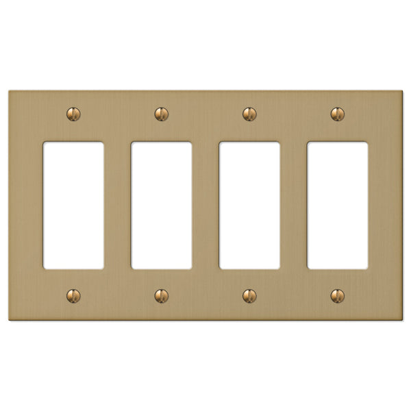 Elan Brushed Bronze Cast - 4 Rocker Wallplate - Wallplate Warehouse