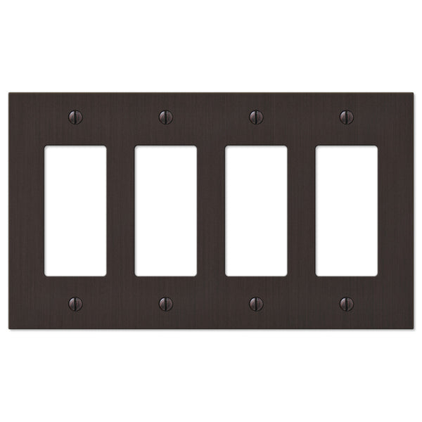 Elan Aged Bronze Cast - 4 Rocker Wallplate - Wallplate Warehouse