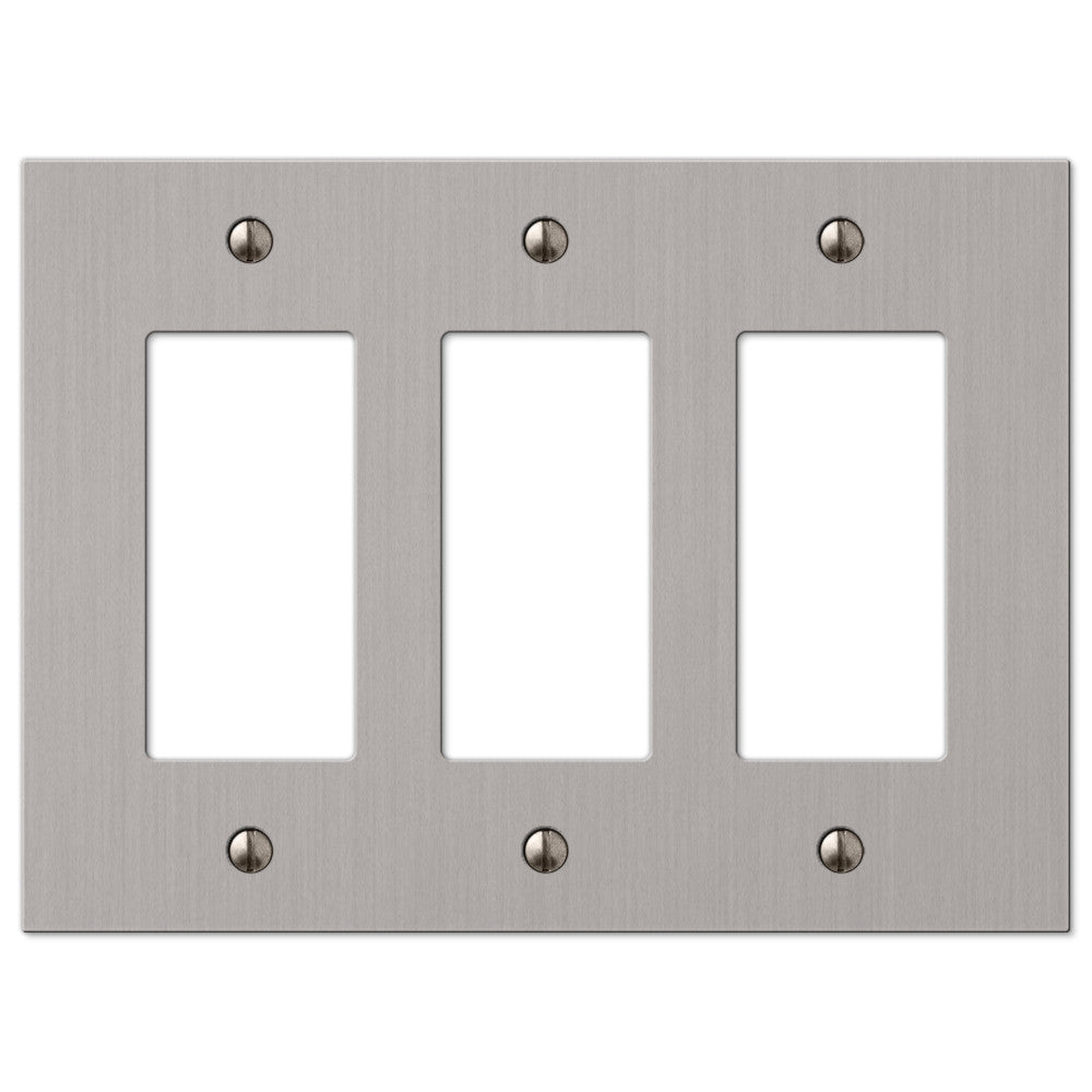 Elan Brushed Nickel Cast - 3 Rocker Wallplate - Wallplate Warehouse