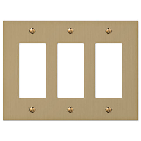 Elan Brushed Bronze Cast - 3 Rocker Wallplate - Wallplate Warehouse