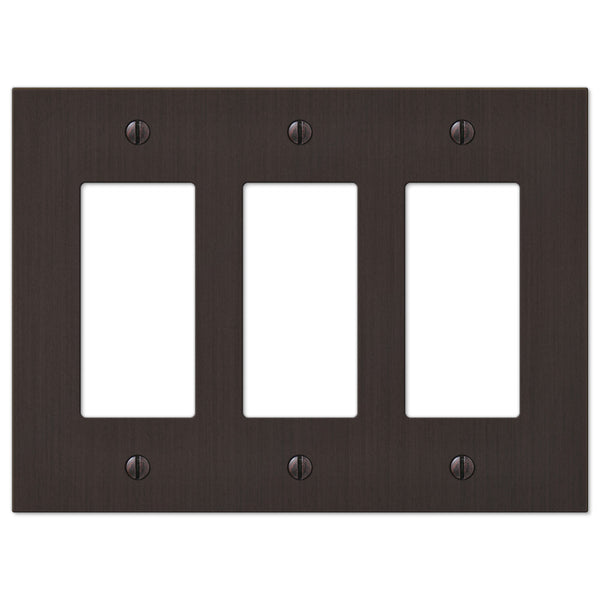 Elan Aged Bronze Cast - 3 Rocker Wallplate - Wallplate Warehouse