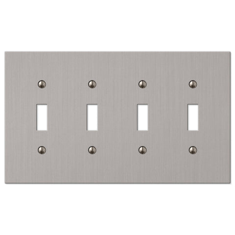 Elan Brushed Nickel Cast - 4 Toggle Wallplate - Wallplate Warehouse