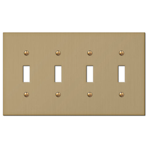 Elan Brushed Bronze Cast - 4 Toggle Wallplate - Wallplate Warehouse
