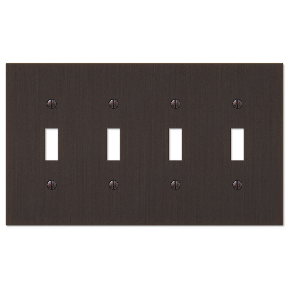 Elan Aged Bronze Cast - 4 Toggle Wallplate - Wallplate Warehouse