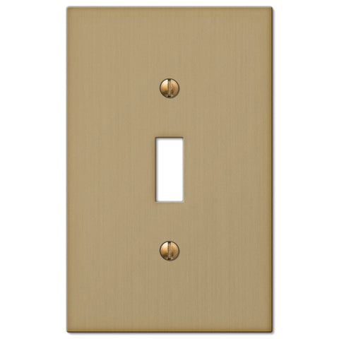 Elan Brushed Bronze Cast - 1 Toggle Wallplate - Wallplate Warehouse