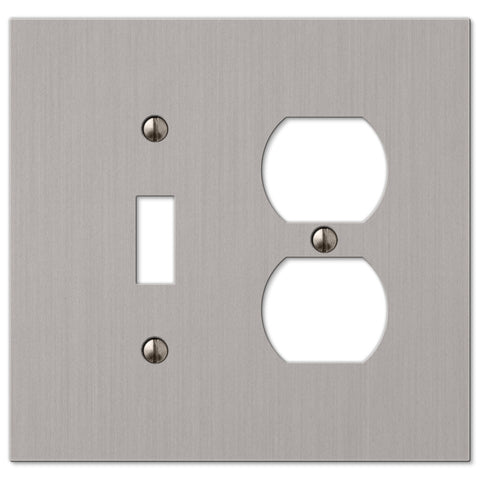 Elan Brushed Nickel Cast - 1 Toggle / 1 Duplex Outlet Wallplate - Wallplate Warehouse