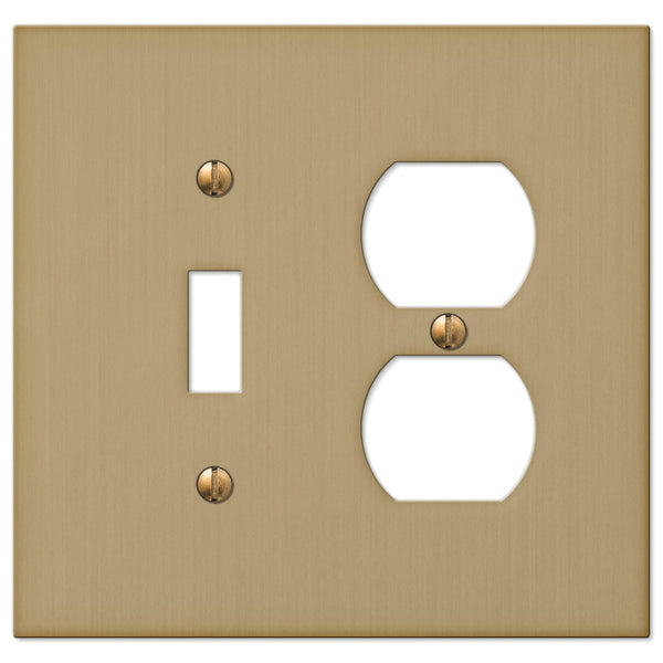 Elan Brushed Bronze Cast - 1 Toggle / 1 Duplex Outlet Wallplate - Wallplate Warehouse