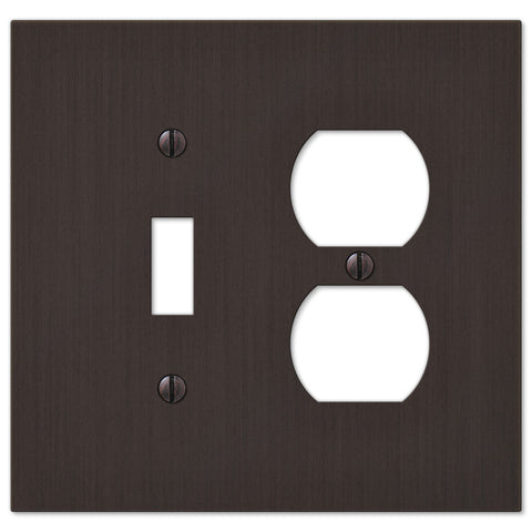 Elan Aged Bronze Cast - 1 Toggle / 1 Duplex Outlet Wallplate - Wallplate Warehouse