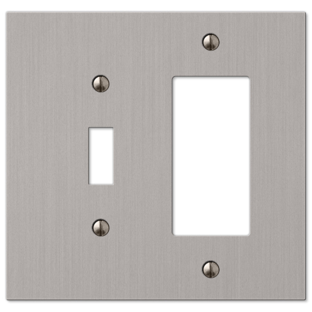 Elan Brushed Nickel Cast - 1 Toggle / 1 Rocker Wallplate - Wallplate Warehouse