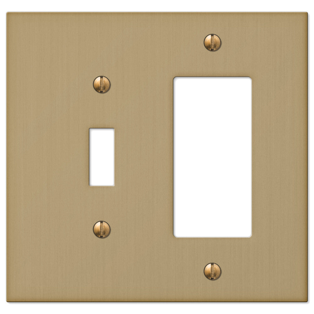 Elan Brushed Bronze Cast - 1 Toggle / 1 Rocker Wallplate - Wallplate Warehouse
