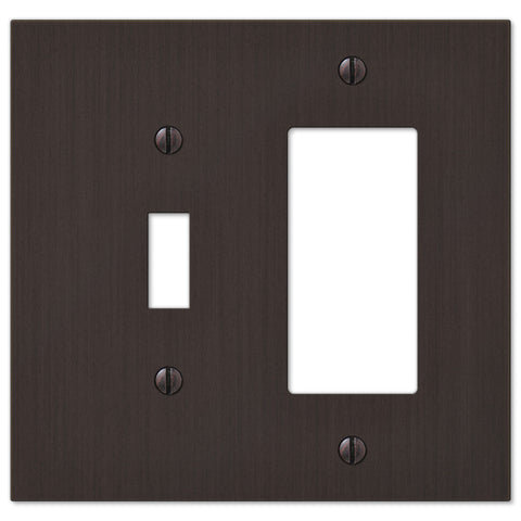 Elan Aged Bronze Cast - 1 Toggle / 1 Rocker Wallplate - Wallplate Warehouse