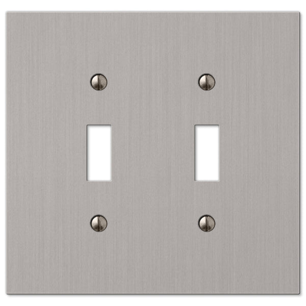 Elan Brushed Nickel Cast - 2 Toggle Wallplate - Wallplate Warehouse
