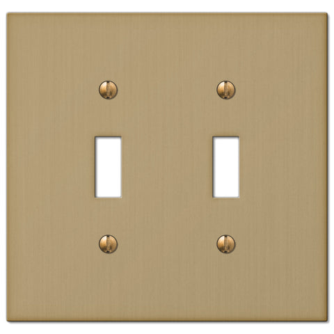 Elan Brushed Bronze Cast - 2 Toggle Wallplate - Wallplate Warehouse