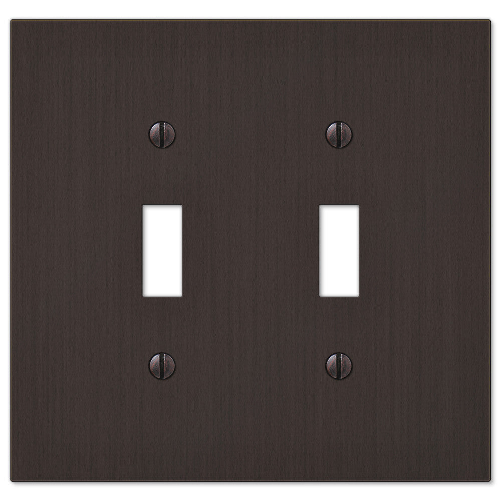 Elan Aged Bronze Cast - 2 Toggle Wallplate - Wallplate Warehouse