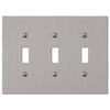 Elan Brushed Nickel Cast - 3 Toggle Wallplate - Wallplate Warehouse