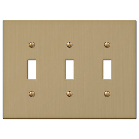 Elan Brushed Bronze Cast - 3 Toggle Wallplate - Wallplate Warehouse