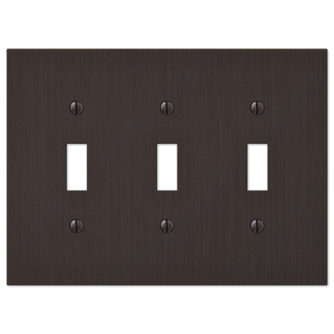 Elan Aged Bronze Cast - 3 Toggle Wallplate - Wallplate Warehouse
