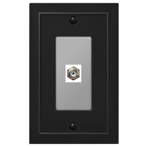 Bethany Matte Black Cast - 1 Cable Jack Wallplate - Wallplate Warehouse