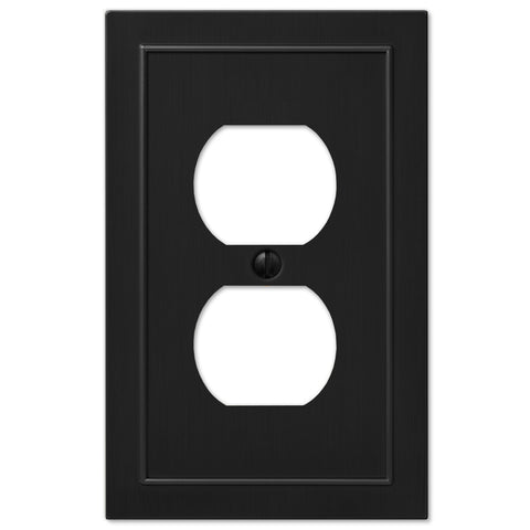 Bethany Matte Black Cast - 1 Duplex Wallplate - Wallplate Warehouse