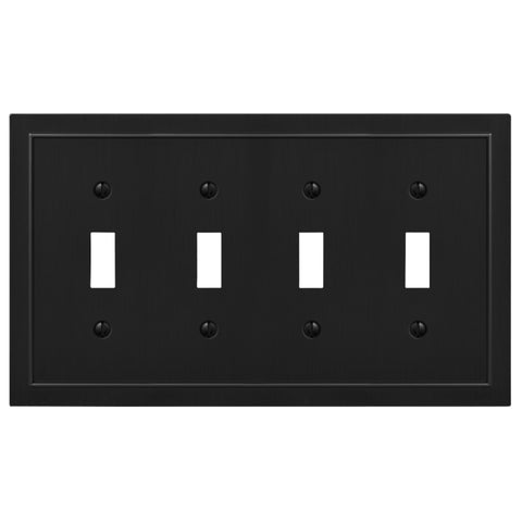 Bethany Matte Black Cast - 4 Toggle Wallplate - Wallplate Warehouse