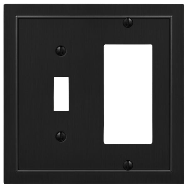 Bethany Matte Black Cast - 1 Toggle / 1 Rocker  Wallplate - Wallplate Warehouse