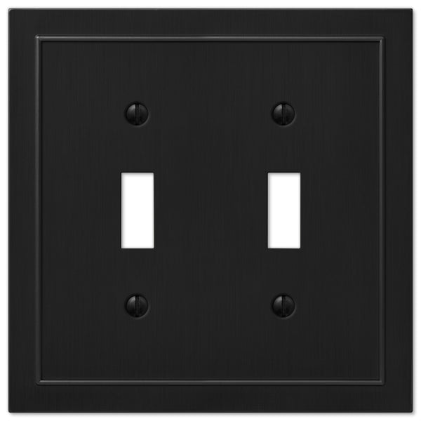 Bethany Matte Black Cast - 2 Toggle Wallplate - Wallplate Warehouse