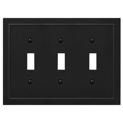 Bethany Matte Black Cast - 3 Toggle Wallplate - Wallplate Warehouse