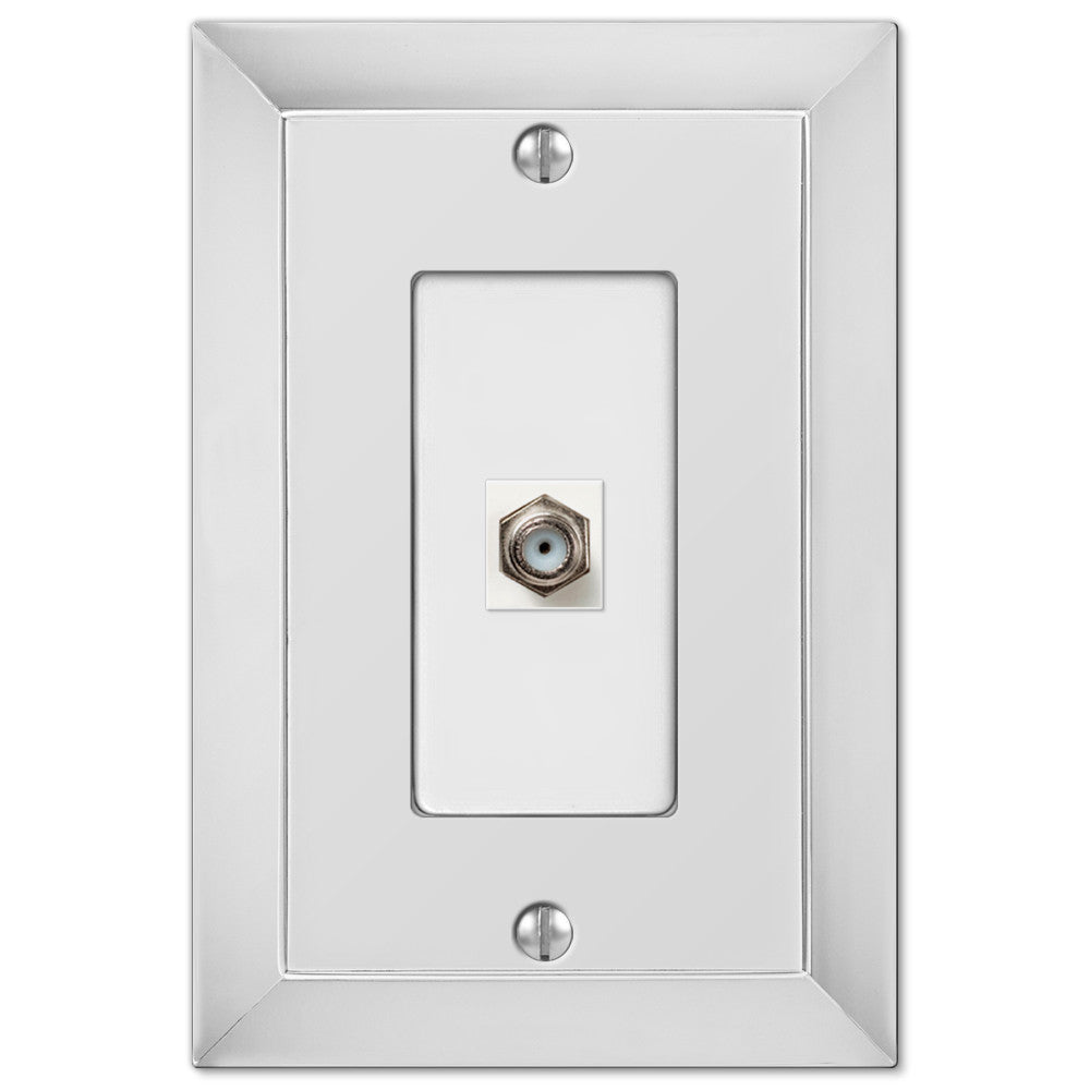 Studio Polished Chrome Cast - 1 Cable Jack Wallplate - Wallplate Warehouse