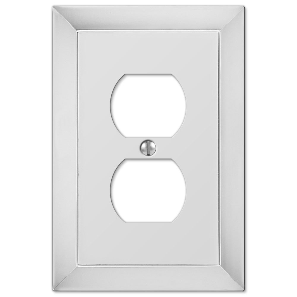 Studio Polished Chrome Cast - 1 Duplex Outlet Wallplate - Wallplate Warehouse